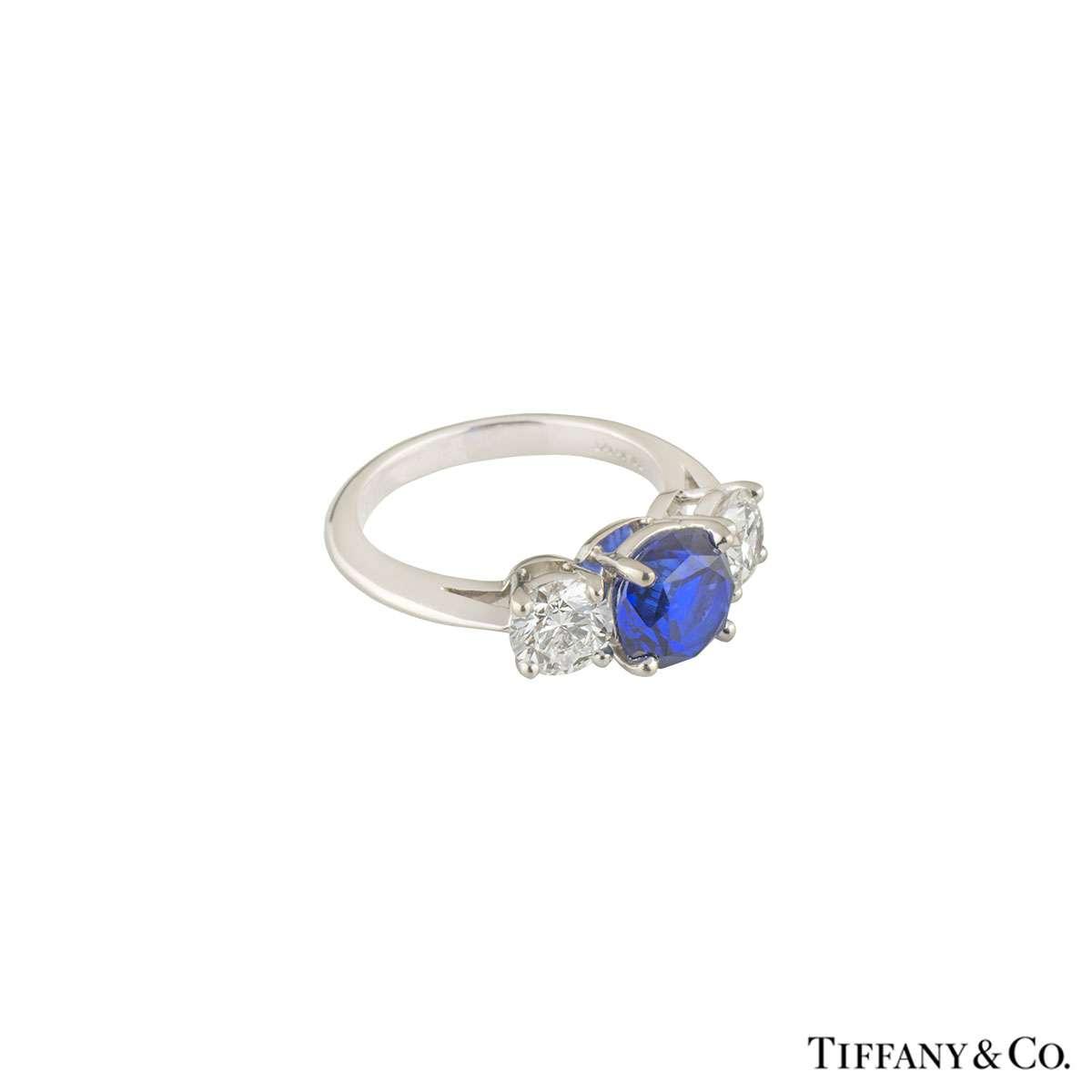 tiffany amp co three stone diamond and sapphire platinum
